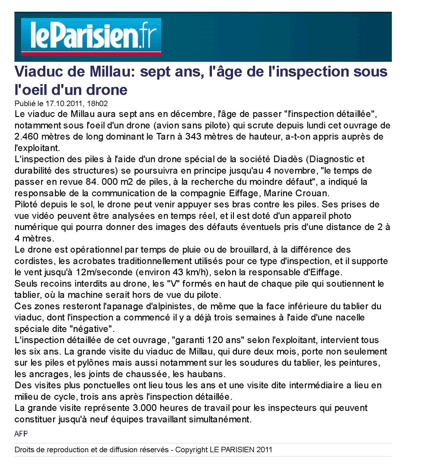 le parisien 17 10 2011 viaduc de millau sept ans l 39 ge de l 39 inspection sous l 39 oeil d 39 un. Black Bedroom Furniture Sets. Home Design Ideas